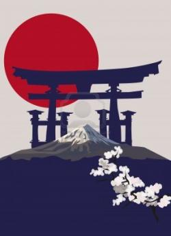 Mount Fuji clipart shrine