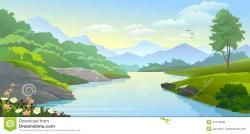 Panorama clipart river bank