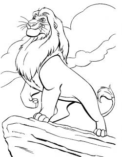 Mufasa clipart colouring page