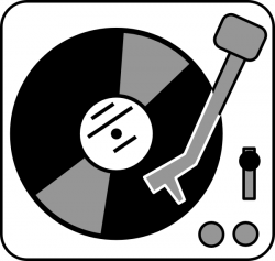Record Player clipart black and white