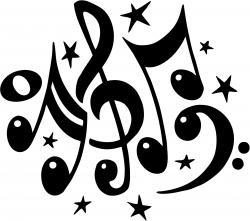 Drawn music notes choir
