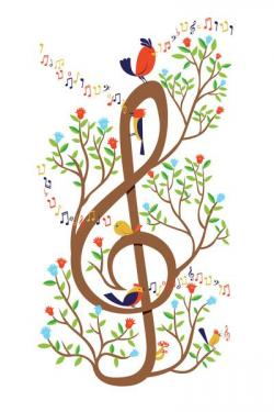 Songbird clipart cute music