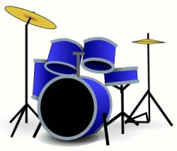 Blue clipart drum set