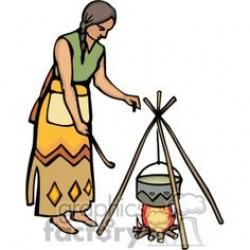 Native American clipart cooking