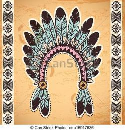 Native American clipart feather headband