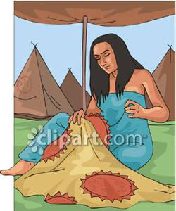 Native American clipart lady sewing