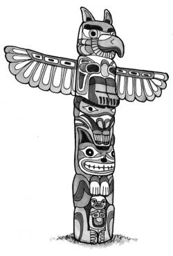 Drawn totem pole animated