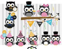 New Year clipart owls
