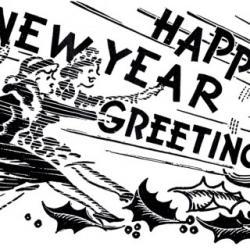 New Year clipart retro