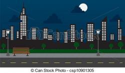 Street clipart night cityscape
