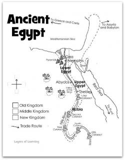 Drawn map ancient egypt