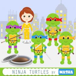 Ninja Turtles clipart black and white