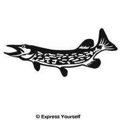 Northern Pike clipart black and white