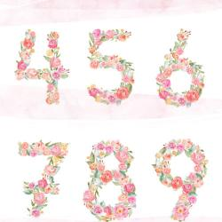 Number clipart watercolor