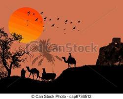 Drawn desert sahara desert