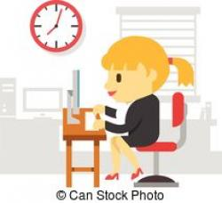 Office clipart hard working woman