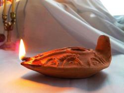 Oil Lamp clipart clay