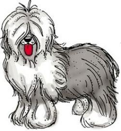 Sheepdog clipart black and white