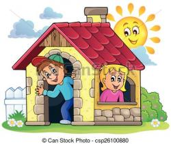 Child clipart playing house