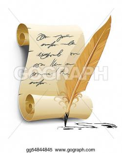 Old Letter clipart pen and ink