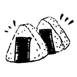 Onigiri clipart black and white
