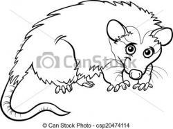 Possum clipart black and white