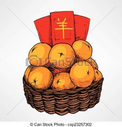Tangerine clipart chinese new year