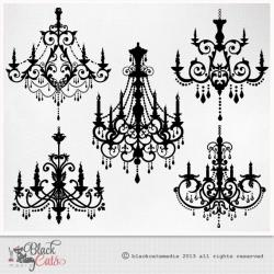 Chandelier clipart hand drawn