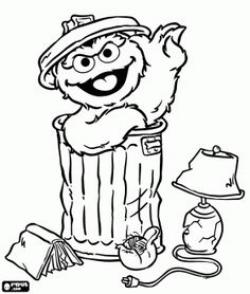Oscar The Grouch clipart black and white