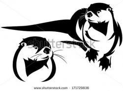 Drawn otter vector