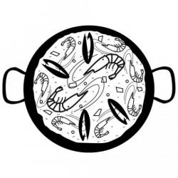 Paella clipart black and white