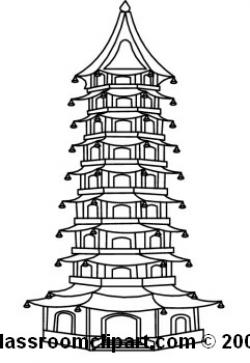 Pagoda clipart black and white