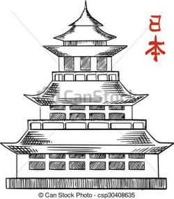 Pagoda clipart drawing