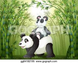 Panda clipart bamboo forest