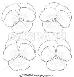 Pansy clipart outline