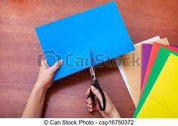 Paper clipart hand cutting