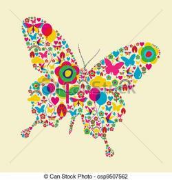 Papillon clipart printemps