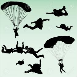 Skydiving clipart silhouette