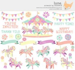 Carousel clipart pastel