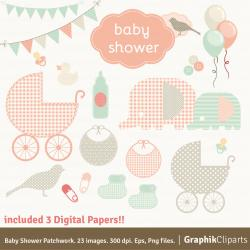Patchwork clipart baby shower