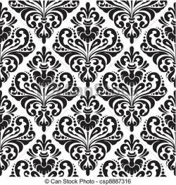 Damask clipart black and white