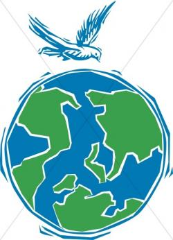 Peace Dove clipart globe