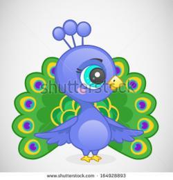 Drawn peafowl cartoon
