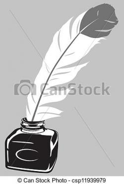 Quill clipart ink bottle