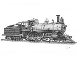 Drawn railroad locomotive