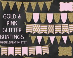 Glitter clipart bunting
