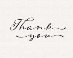 Typography clipart thank you calligraphy