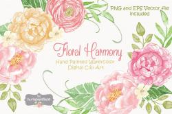 Peony clipart watercolor flower