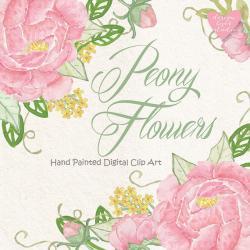 Peony clipart wedding invitation