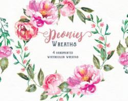 Peony clipart wreath